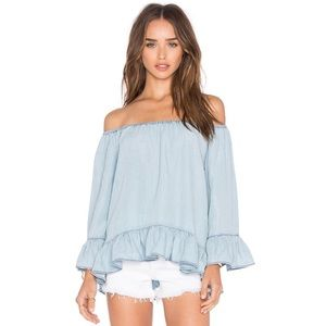 Anthropologie Sanctuary chambray off shoulder top